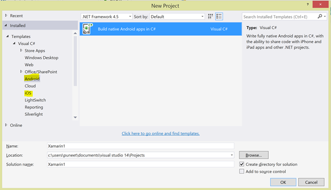 Xamarin, Visual Studio 2015 Preview, Android Development and